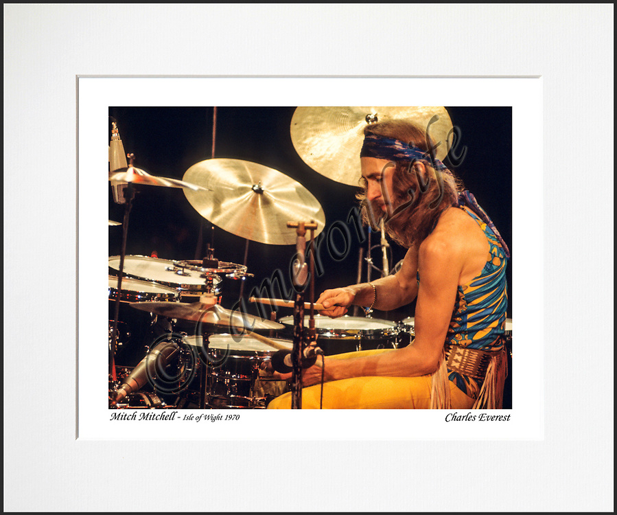 """Mitch Mitchell - An affordable archival quality matted print ready for framing at home.<br /> Ideal as a gift or for collectors to cherish, printed on Fuji Crystal Archive photographic paper set in a neutral mat (all mounting materials are acid free conservation grade). <br /> The image (approx 6""""x8"""") sits within a titled border. The outer dimensions of the mat are approx 10""""x12"""""""