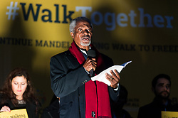 © Licensed to London News Pictures. 23/10/2017. London, UK.  Former Secretary-General of the United Nations KOFI ANNAN<br /> makes a speech in Trafalgar Square at the Walk Together event in memory of Nelson Mandela. Photo credit: Ray Tang/LNP
