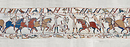 Bayeux Tapestry scene 52:  Harpld brother, Duke of Lewine and Byrd is killed in the Battle of Hastings. BYX52 .<br /> <br /> If you prefer you can also buy from our ALAMY PHOTO LIBRARY  Collection visit : https://www.alamy.com/portfolio/paul-williams-funkystock/bayeux-tapestry-medieval-art.html  if you know the scene number you want enter BXY followed bt the scene no into the SEARCH WITHIN GALLERY box  i.e BYX 22 for scene 22)<br /> <br />  Visit our MEDIEVAL ART PHOTO COLLECTIONS for more   photos  to download or buy as prints https://funkystock.photoshelter.com/gallery-collection/Medieval-Middle-Ages-Art-Artefacts-Antiquities-Pictures-Images-of/C0000YpKXiAHnG2k