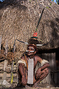 Dani tribe man (Marianus)<br /> Jiwika village<br /> Suroba<br /> Trikora Mountains<br /> West Papua<br /> Indonesia