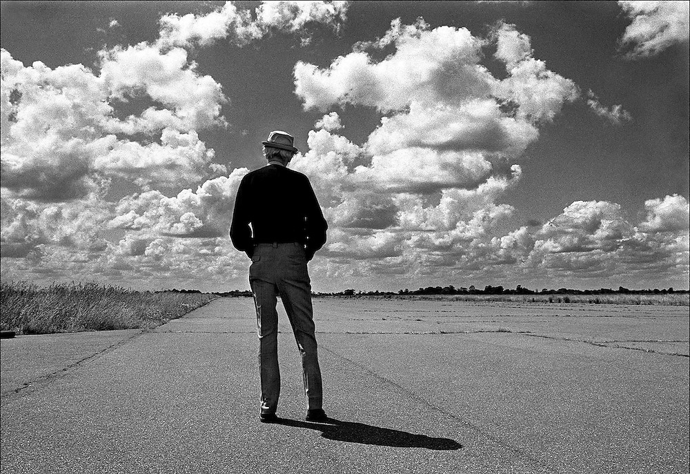 American actor James Stewart seen on a visit to the old US airbase at Tibenham, Norfolk, England where he was stationed as a pilot during the Second World War. 1975. Photographed by Terry Fincher