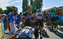 July 4, 2017 - Mondorf Les Bains / Vittel, Luxembourg / France - VITTEL, FRANCE - JULY 4 : Crash of the riders  during stage 4 of the 104th edition of the 2017 Tour de France cycling race, a stage of 207.5 kms between Mondorf-Les-Bains and Vittel on July 04, 2017 in Vittel, France, 04/07/2017 (Credit Image: © Panoramic via ZUMA Press)