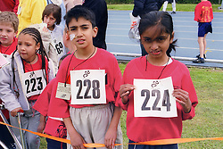 Young competitors with physical impairments taking part in Mini games sports event held at Stoke Mandeville Stadium,
