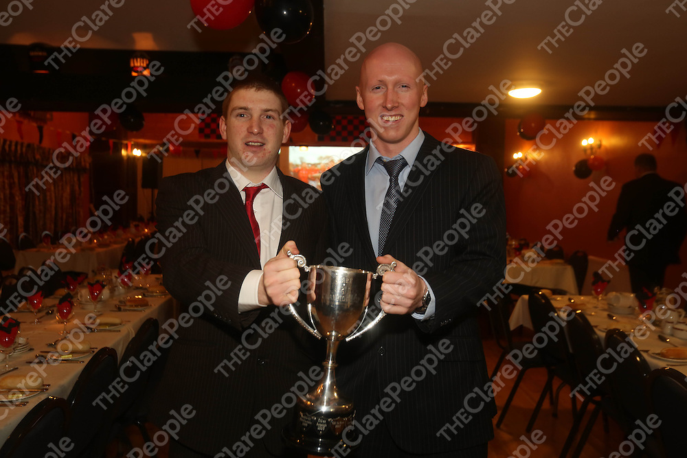 Michael Dooley and Tomas Hanley pictured at the Whitegate GAA Medals night in Mountshannon Hotel on Saturday.<br /> Pic.  Brian Arthur/ Press 22.
