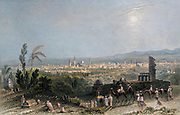 Machine Colourised Damascus Syria as seen from Salahyeh. From Syria, the Holy Land, Asia Minor, etc. : by  Carne, John, 1789-1844; Bartlett, W. H. (William Henry), 1809-1854; Purser, William Publisher: London, Fisher [1839-40]