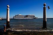 A Cruise Ship in Tagus Tiver.<br /> Lisbon, Portugal