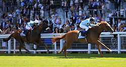 In Salutem ridden by Thierry Jarnet wins The Dubai Duty Free Shergar Cup Dash Stakes for Europe during the Dubai Duty Free Shergar Cup day at Ascot Racecourse.