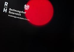 """12.07.2017, Rechnungshof, Wien, AUT, Rechnungshof, Pressekonferenz """"Neue Schwerpunkte bei künftigen Prüfungen"""", im Bild Feature Logo Rechnungshof - Unabhängig und Objektiv für Sie // Feature of the Austrian court of audit Margit Kraker during press conference of the Austrian court of audit in Vienna, Austria on 2017/07/12, EXPA Pictures © 2017, PhotoCredit: EXPA/ Michael Gruber"""