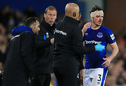 Everton's Leighton Baines with a bandage after a cut to the head during the Premier League match at Goodison Park, Liverpool.