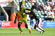 Lucas Akins (10) of Burton Albion battles for possession with Ashley Smith-Brown (23) of Plymouth Argyle during the EFL Sky Bet League 1 match between Plymouth Argyle and Burton Albion at Home Park, Plymouth, England on 20 October 2018.