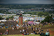 The view  of Glastonbury Festival 22th July 2016, Somerset, United Kingdom.  The Glastonbury Festival runs over 3 days and has 3000 acts, including music, art and performance and approx. 150.000 attend the anual event.