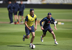 England's Alastair Cook plays football with Mason Crane (right) during the nets session at Edgbaston, Birmingham.