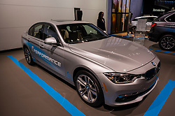 NEW YORK, USA - MARCH 23, 2016: BMW 330e on display during the New York International Auto Show at the Jacob Javits Center.