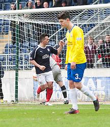 Falkirk's Sean Higgins cele scoring their fourth goal..Falkirk 4 v 1 Morton, 4/5/2013..© Michael Schofield..