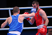 Ibragim Bazuev of Germany (right) and Stepan Hrekul of Ukraine compete in the Men's Light-heavyweight preliminaries during The Road to Tokyo European Olympic Boxing Qualification, Sunday, March 15, 2020, in London, United Kingdom. (Mitchell Gunn-ESPA-Images/Image of Sport)