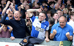 Bristol Rovers fans celebrate Bristol Rovers' Chris Lines goal. - Photo mandatory by-line: Alex James/JMP - Mobile: 07966 386802 - 03/05/2015 - SPORT - Football - Bristol - Memorial Stadium - Bristol Rovers v Forest Green Rovers - Vanarama Football Conference