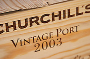 Wine shop. Churchill's Vintage Port 2003 in a wooden box. Lisbon, Portugal