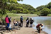 receational tourism at Red Clawed Crab Square area in Koajiro no Mori Kanagawa Japan