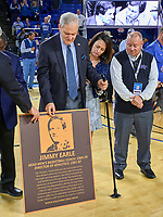 Former Middle Tennessee Blue Raiders head coach Jimmy Earl during the ceremony to rename the arena to the Monte Hale/Jimmy Earle Arena during half time of the UAB Blazers at Middle Tennessee Blue Raiders college basketball game in Murfreesboro, Tennessee, Saturday, February, 15, 2020. Middle lost 79-66.<br /> Photo: Harrison McClary/All Tenn Sports