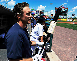 Chase Utley prepares to bat in the first inning. Philadelphia Phillies 2nd baseman Chase Utley rehabs with the Lehigh Valley IronPigs in a game against the Norfolk Tides August 2nd, 2015, at Coca-Cola Park in Allentown.
