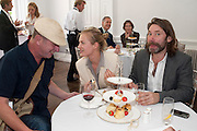 JOHNNIE SHAND-KYDD; POLLY MORGAN; MAT COLLISHAW, Pablo Bronstein, Sketches for Regency Living. Discussion and lunch. ICA. The Mall. London. 7 June 2011. <br /> <br />  , -DO NOT ARCHIVE-© Copyright Photograph by Dafydd Jones. 248 Clapham Rd. London SW9 0PZ. Tel 0207 820 0771. www.dafjones.com.