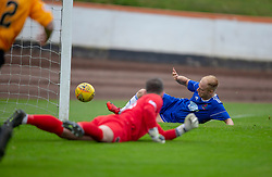 Cove Rangers Jordan Brown scoring their second goal. Cove Rangers have become the SPFL's newest side and ended Berwick Rangers' 68-year stay in Scotland's senior leagues by earning a League Two place. Berwick Rangers 0 v 3 Cove Rangers, League Two Play-Off Second Leg played 18/5/2019 at Berwick Rangers Stadium Shielfield Park.