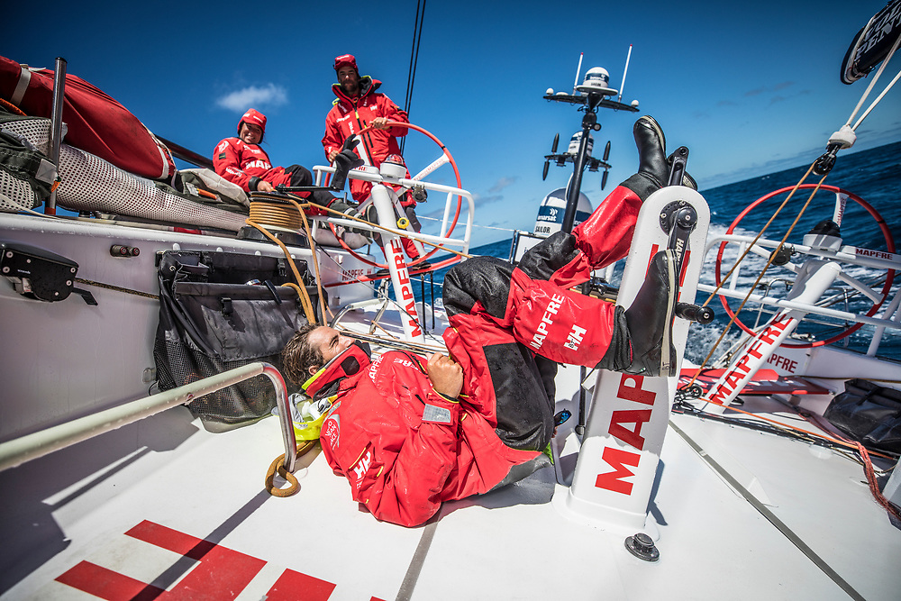 Leg 02, Lisbon to Cape Town, day 19, on board MAPFRE, Blair Tuke implementing America's Cup tecniques on the VOR 65. Photo by Ugo Fonolla/Volvo Ocean Race. 23 November, 2017