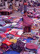 Textiles on sale, Plaza Mayor, Antigua, Guatemala, Central America,