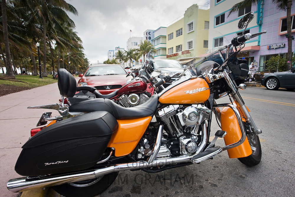 Harley Davidson Road King Classic motorcycle with 88 cubic inches twin cam engine, South Beach, Miami, Florida