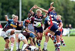 Bristol Ladies charge down a kick - Mandatory by-line: Robbie Stephenson/JMP - 18/09/2016 - RUGBY - Cleve RFC - Bristol, England - Bristol Ladies Rugby v Aylesford Bulls Ladies - RFU Women's Premiership