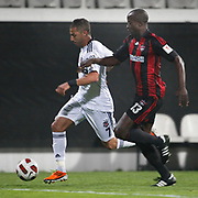 Besiktas's Ricardo QUARESMA (L) and Gaziantepspor's Dany NOUNKEU (R) during their Turkey Cup semi final soccer firsth match Besiktas between Gaziantepspor at the Inonu stadium in Istanbul Turkey on Wednesday 06 April 2011. Photo by TURKPIX