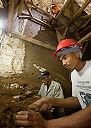 """Benyamin Tarus carefully excavates archaeological remains, very close to where he unearthed the type specimen of Homo floresiensis, the Flores """"hobbit"""""""