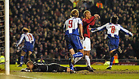 Photo. Jed Wee.<br /> Manchester United v FC Porto, UEFA Champions League, Old Trafford, Manchester. 09/03/2004.<br /> Manchester United's Wes Brown and goalkeeper Tim Howard cannot believe it as Porto wheel away celebrating their vital equaliser.