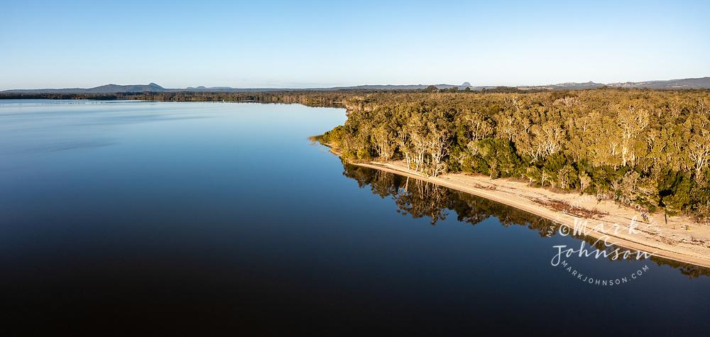 Panoramic aerial view of Lake Cootharaba, Boreen Point, Sunshine Coast, Queensland, Australia