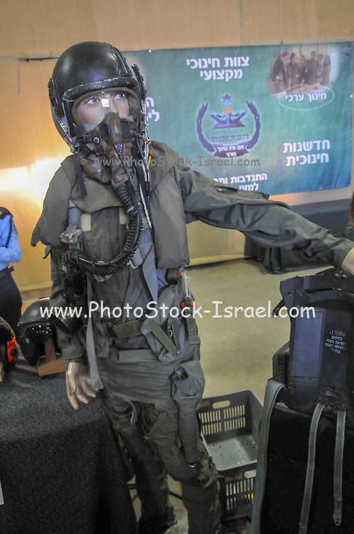A model wearing an Israeli Air Force pilot's flight suit