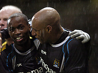 Photo: Olly Greenwood.<br />West Ham United v Manchester City. The Barclays Premiership. 30/12/2006. Manchester City's DaMarcus Beasley celebrates with Ousmane Dabo