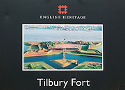 Close up of English Heritage sign for Tilbury Fort, Tilbury, Thurrock, Essex, England, UK