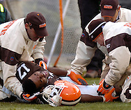 MORNING JOURNAL/DAVID RICHARD<br /> Browns' rookie receiver Braylon Edwards is cared for on the field after sustaining a leg injury on a pass play yesterday in the fourth quarter.