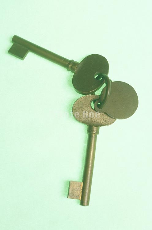 Still life of a keys with green shadow