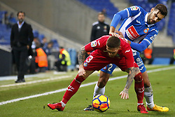 November 27, 2017 - Barcelona, Spain - Navarro and Antunes during La Liga match between RCD Espanyol v Real Betis Balompie,in Barcelona, on November 27, 2017. Photo: Joan Valls/Urbanandsport/Nurphoto  (Credit Image: © Joan Valls/NurPhoto via ZUMA Press)