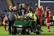 Blade Thomson is stretchered off during the Guinness Pro 14 2018_19 match between Edinburgh Rugby and Scarlets at BT Murrayfield Stadium, Edinburgh, Scotland on 2 November 2018.