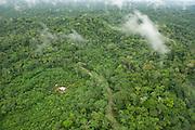 Maxus Road, Oil road built in 1991 inside Yasuni National Park now showing colonization.<br /> Yasuni National Park, Amazon Rainforest<br /> ECUADOR. South America<br /> HABITAT & RANGE: