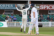 Muhammad Abbas appeals for LBW against Billy Godleman during the Specsavers County Champ Div 2 match between Leicestershire County Cricket Club and Derbyshire County Cricket Club at the Fischer County Ground, Grace Road, Leicester, United Kingdom on 27 May 2019.