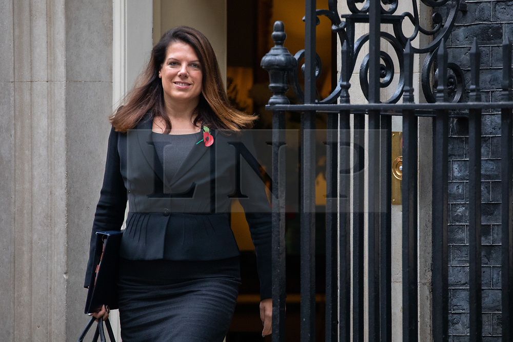 © Licensed to London News Pictures. 06/11/2018. London, UK. Minister of State for Immigration Caroline Nokes leaving 10 Downing Street after attending a Cabinet meeting this morning. Photo credit : Tom Nicholson/LNP