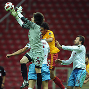 Trabzonspor's goalkeeper Tolga ZENGIN (L) and Remzi Giray KACAR (R) during their Turkish superleague soccer derby match Galatasaray between Trabzonspor at the TT Arena in Istanbul Turkey on Sunday, 10 April 2011. Photo by TURKPIX