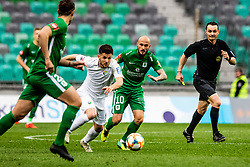 Rijad Kobiljar of NK Rudar Velenje vs Brkic Goran of NK Olimpija Ljubljana during football match between NK Olimpija Ljubljana and NK Rudar Velenje in 25rd Round of Prva liga Telekom Slovenije 2018/19, on April 7th, 2019 in Stadium Stozice, Slovenia Photo by Matic Ritonja / Sportida