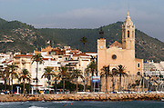 San Barthomieu i Santa Tecla church. Beach. The coast walk. Sitges, Catalonia, Spain