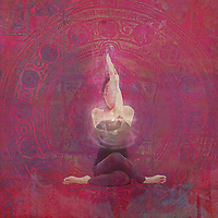 Woman with her arms in yoga Eagle pose and her legs in Cow pose with light energy in a pink ancient mandala.