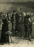 Sarah Martin (1791-1843) English prison visitor  conducting Sunday morning in Yarmouth jail.