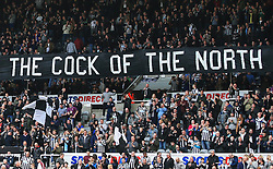 Newcastle United fans hold up a banner prior to kick off - Mandatory by-line: Matt McNulty/JMP - 15/04/2018 - FOOTBALL - St James Park - Newcastle upon Tyne, England - Newcastle United v Arsenal - Premier League